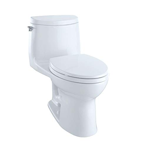 TOTO MS604114CUFG#01 UltraMax II 1G One-Piece Elongated 1.0 GPF Universal Height Toilet with CEFIONTECT, Cotton White