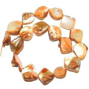 (Steven_store MP1115 Orange Diamond Nugget 14mm - 24mm Mother of Pearl Shell Beads 15