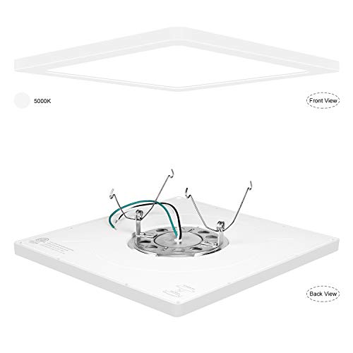 Surface Fixture (AVANLO Super Slim 0.6 Inch Thickness 12 Inch LED Ceiling Light Fixture, 120V 5000K 1680lm 24W (150W Equivalent), Dimmable, Square, for 3.5-4'' Junction Box, 5-6'' Housing & Surface Mount. 1 Pack)