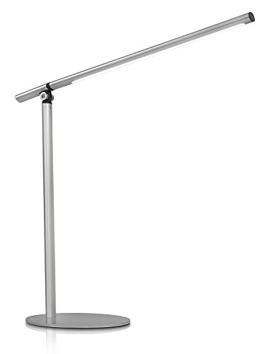 Turcom LED Desk Lamp for Reading, Studying, or Relaxing, Fully Adjustable Neck, 350 Lumen, Stainless Steel, Silver (TS-7002) (Gooseneck Vent)