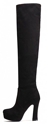 Black Stretchy Fashion Boots Over Platform Chunky IDIFU High Womens Knee q4nwOvzxpT