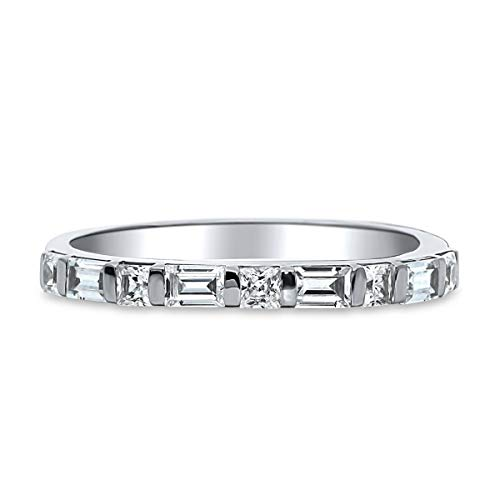 1/2ct Princess & Baguette Simulated Diamond Wedding Women's Band 14k Real White Gold 6.5