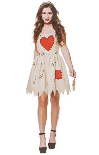 Women's Voodoo Doll Costume, for Halloween Costume Party Accessory, Extra Large White and Red]()