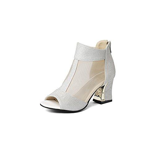 BalaMasa Womens Zipper Chunky Heels Peep-Toe Microfiber Heeled Sandals Silver