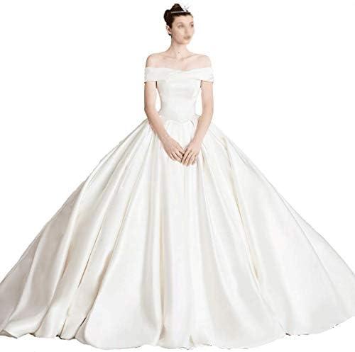 CAIM-Kleider Hochzeit Retro Liebsten Plissee Lange Brautkleid Satin Prinzessin Kleid Rock Trompete Party Reich Taille Lange Abendkleid (Color : White, Größe : S)