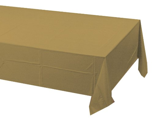 Creative Converting Touch of Color Plastic Lined Table Cover, 54 by 108-Inch, Glittering Gold
