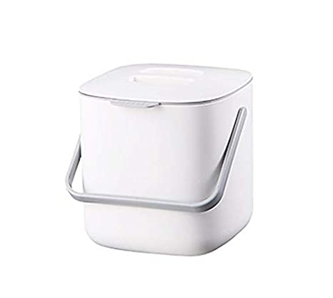 HARRA HOME Double Layer Food Waste Bin with Handle, Kitchen Compost Bin  Caddy, Food Scrap Bin, Indoor Plastic Composter Small Container Box Oder  free ...