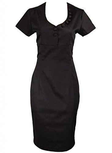 Black Collar Button Rockabilly Secretary Pinup Vintage Pencil Dress - Small (Wiggle Dress Sailor)
