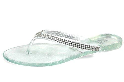 8635aab9dc7afe Kali Footwear Women s JOY Clear Rhinestone V-Stap Jelly Flat Flip Flops  Summer Beach Sandals - 10 M US - Buy Online in Oman.