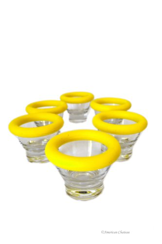 Set 6 Clear Glass Cup Egg Cups Holders Stands with Removable Yellow Silicone Rim