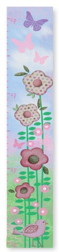 The Kids Room by Stupell Flowers And Butterflies And Birds Growth Chart, 7 x 0.5 x 39, Proudly Made in USA (Flowers Canvas Growth Chart)