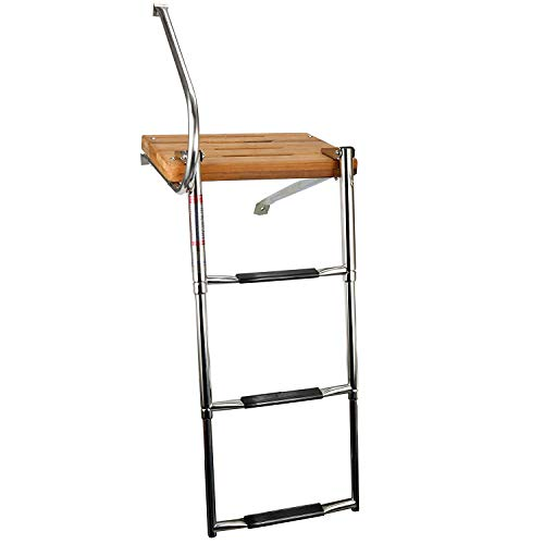 (YaeMarine 3 Steps Stainless Boat Out-Board Swim Folding Ladders with Swim Teak)