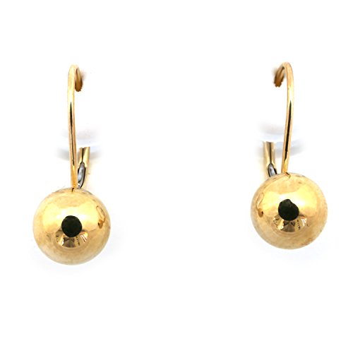 14k Yellow Gold 7mm Fixed Ball Leverback Earrings - Gold 7mm Ball Earrings Yellow