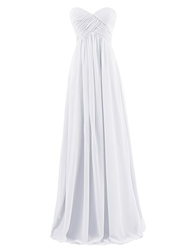 Dresstells Sweetheart Bridesmaid Chiffon Prom Dresses Long Evening Gowns for Juniors Size 2 White