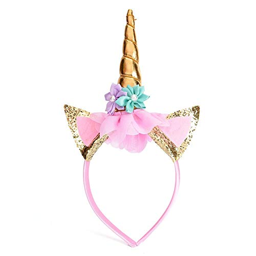 Party Hats - Diy Party Hats Baby Headband Hair Decorative Gold Silver Happy Unicorn Horn Xmas Hoop Chiffon - Weddings Pins Decorations Flower Beads Women Gold Comb Jewelry Braids Decoration Kid -