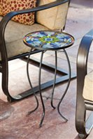door-Safe Round Dragonfly Stained Glass and Metal Side Table - 12