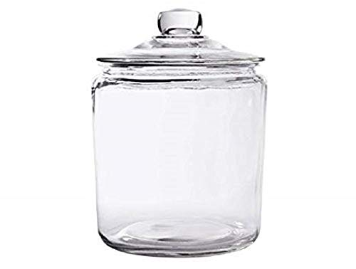 Glass Cookie Candy Penny Jar with Glass Lid, 1 Gallon Old Fashioned Clear Round Storage Container (Small Glass Cookie Jars With Lids)