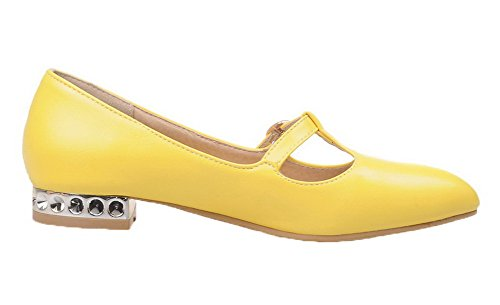 VogueZone009 Women's Low-Heels Solid Pull-On PU Pointed-Toe Pumps-Shoes Yellow 7VwtzRb5y