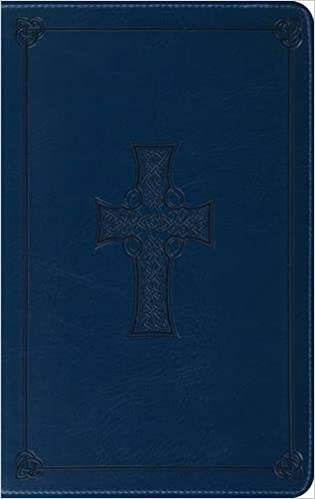 Esv Thinline Bible Trutone Royal Blue Celtic Cross Design Red