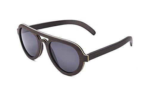 WOODWORD Polarized Handmade Wood Sunglasses in Aviator Style with Wood Case (ebony wood, - Ebony Styles