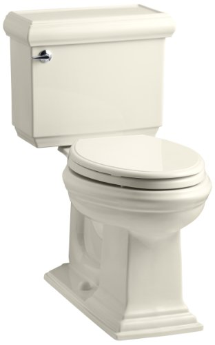 KOHLER K-3818-47 Memoirs Comfort Height Two-Piece Elongated 1.6 gpf Toilet with Classic Design, Almond