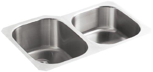 KOHLER K-3150-NA Undertone Large/Medium Undercounter Kitchen Sink, Stainless Steel
