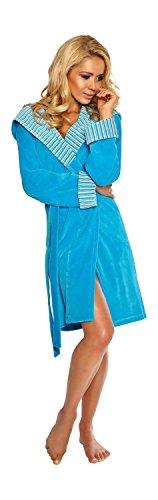 Tasche Cappuccio Turchese Vestaglia e Blu Donna Cintura da con 48WAn1WH