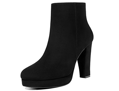 High Heel Ankle Boots - MOLECOLE Women's Faux Sued Ankle Boots,Side Zipper Warm Linning High Heel Ankle Booties Black Size9
