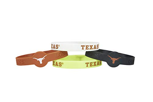 - aminco NCAA Texas Longhorns Silicone Bracelets, 4-Pack