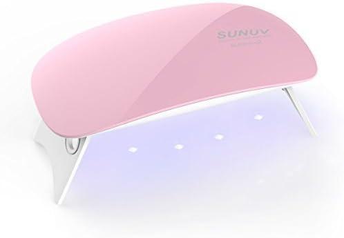 SUNUV SUNmini 6W LED Lampara Uñas UV Secador de Uñas para Unas de Gel 2 Ajustes de Tiempo 45s y 60s,Rosa
