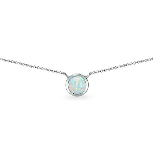 - Sterling Silver Simulated White Opal 6mm Round Bezel-Set Dainty Choker Necklace