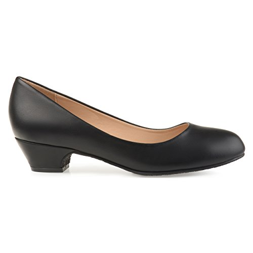 Brinley Co. Womens Soren Classic Faux Leather Comfort-Sole Heels Black, 6.5 Regular US