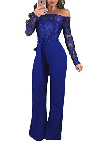 Ophestin Women Sexy Off Shoulder Floral Lace Long Sleeve Bodycon Wide Leg Jumpsuits Rompers with Belt Blue L (Lace Belt Belted)