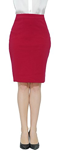 Marycrafts Women's Work Office Business Pencil Skirt M Light Red by Marycrafts