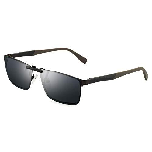 Rimless Glasses Prescription - OCCI CHIARI Polarized Clip-on Clip Rimless Sunglasses for Rectangular Prescription Glasses Black