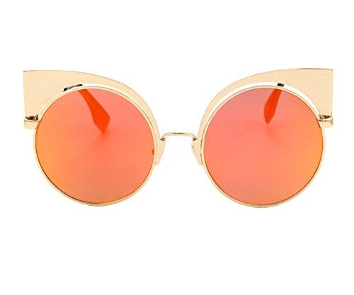 [Heartisan Fashion Flash Mirror Cat Eye Full Metal Frame Women's Sunglasses C2] (1970s Tennis Costume)