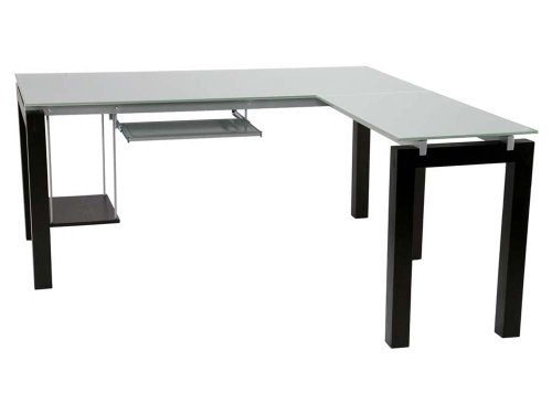 Eurø Style Ballard Wood L Shaped Desk with Clear Glass Top, Wenge Finish - Euro Style Furniture Square Table