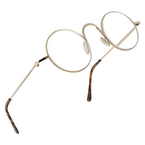 (Vintage Round 45mm Classic Unisex Rx Optical Prescription Reading Glasses Positive Strength +1.00 - +3.50 (Gold, +1.75))