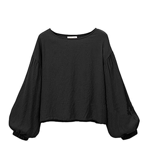 Sport Ados Plus O Manche POTTOA Blouse Longues Shirt Fille Tops Taille Noir Hauts Femmes Femme Chemisier en Manches Vrac Femme d'impression Tops Mode Neck Longue De Chemise t Solide Haut 8XwXqR4