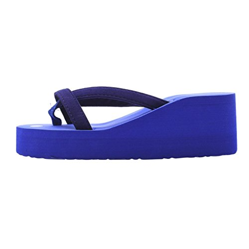 Sonnena Sandals For Women, Women's Summer Fashion Slipper Flip Flops Beach Wedge Thick Sole Heeled Shoes Blue