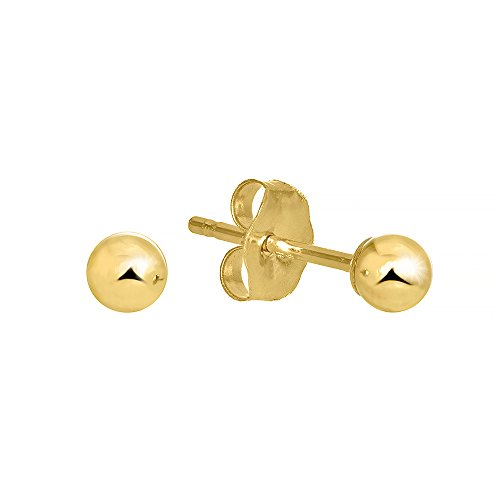 JewelStop 14k Real Yellow Gold Stud Ball Earrings, Gold Friction Backs - 4 - Earrings Stud Friction Back Ball