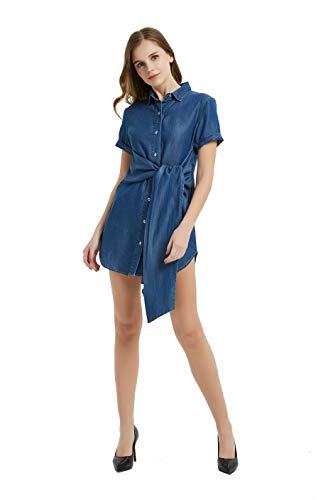 (Tronjori Womens Distressed Short Sleeve Shirt Neck Button Down Denim Shirt Dress with Belt (M,LT Blue))
