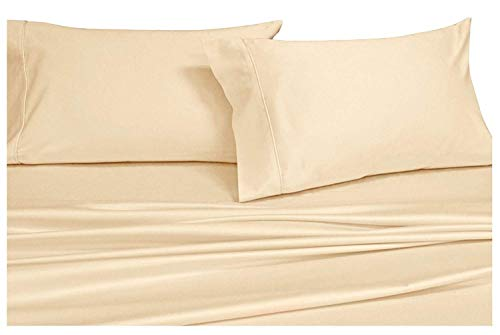 Royal Hotels Solid Ivory 1000-Thread-Count Super-Deep 4pc Queen Bed Sheet Set 100% Cotton, Sateen Solid, Extra Deep Pocket