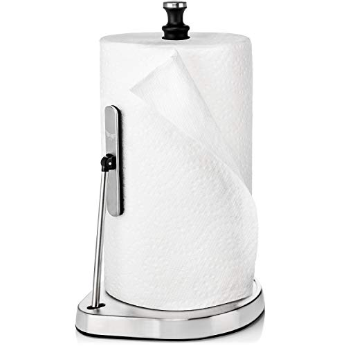 Strong Grip Towel Holder For Counter - Stainless Steel Paper Towel Holder - Easy Tear Design - Practical and Functional Kitchen Accessories and Decor - Countertop Organizer/Dispenser For Paper Roll ()
