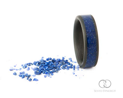 Carbon Fiber Ring with Central Wide Lapis Lazuli Mineral Stone Inlay. 7 mm.