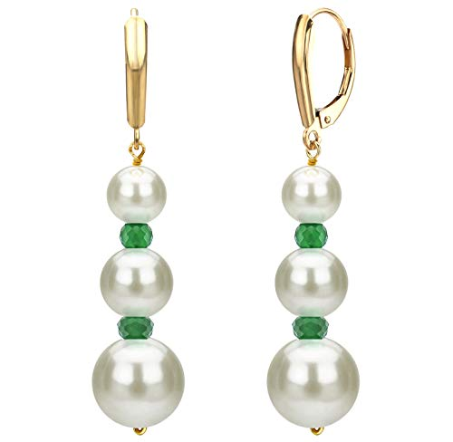 Graduated Freshwater Cultured White Pearl and Simulated Green Emerald Lever-back Earrings in 14k Yellow Gold