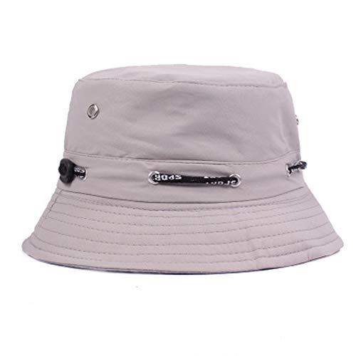 Summer Women Hat Unisex Flat Cotton Bucket Hat for Men Women Travel Sun Hat Female Male Fisherman Cap Gray]()
