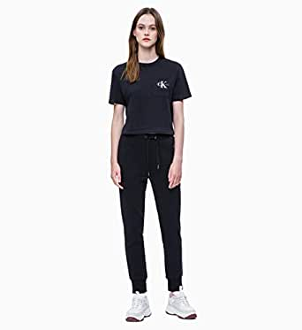 Calvin Klein Jeans Women's Monogram Off Placement Cropped Tee, Ck Black, XS