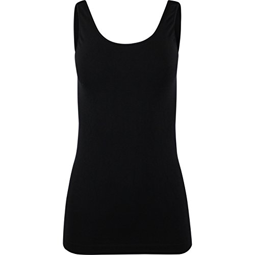 Wide Strap Jersey Tank Top - NioBe Smooth Seamless Nylon Spandex Wide Strap Jersey Tank Top (Black)