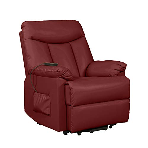 Domesis Renu Leather Wall Hugger Power Lift Chair Recliner, Burgundy Red Renu Leather